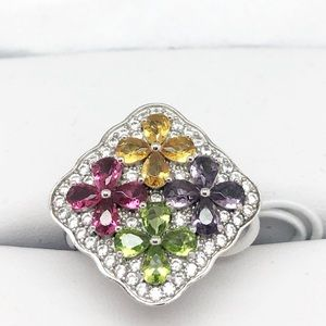 Macy's Sterling Silver Multi-Color Sparkle Ring